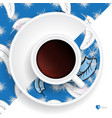 coffee cup with feather pattern vector image