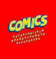 comics style font alphabet letters and numbers vector image vector image
