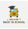 Concept Icon back to schoolschool bus hat text vector image vector image