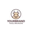cow line logo design concept template vector image