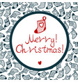 cristmas stocking with pattern and little heart vector image