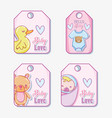 cute baby tags vector image vector image
