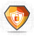cyber security shield protection padlock data vector image vector image