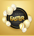 easter gold background with realistic golden vector image vector image