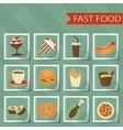 flat design retro style fast food icons set vector image vector image