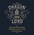 font dragon lord pop vintage letters numbers vector image