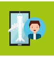 guy hand holds mobile application travel airport vector image vector image
