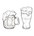 hand drawing beer mug in white background vector image vector image