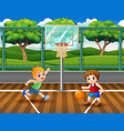 happy boys playing basketball at court vector image