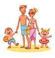 happy family on vacation summer recreation vector image vector image