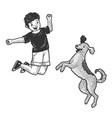 happy jumping boy with pet dog sketch vector image vector image