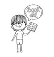 happy little boy reading book with speech bubble vector image