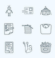 hobby icons line style set with planning vector image