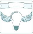 Icon light bulb lamp with wings halo banner vector image vector image