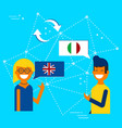 italian and english online chat translation vector image vector image