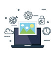 laptop with picture and business set icons vector image vector image