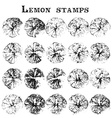 Lemon and orange stamps vector image