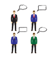 Male figures icons avatars with speech bubbles vector image vector image