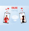 man woman on phone screen near restaurant table vector image vector image
