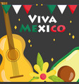 mexican independence day avocado and guitar vector image vector image