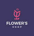 modern professional logo flowers shop on black vector image vector image