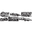 monochrome set sports racing cars vector image