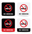 no smoking sign set vector image
