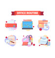 office work routine set moments working schedule vector image