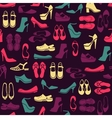 pattern with multicolor different kinds of shoes vector image