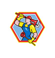 Plumber Holding Plunger Wrench Cartoon vector image vector image