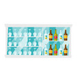 shelves with bottles and glasses cartoon vector image vector image