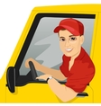 Smiling truck driver in the car vector image vector image