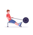 sports man doing exercises on rowing machine guy vector image