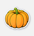 sticker orange pumpkin with green stem vector image
