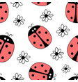 summer print with ladybird vector image vector image