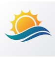 Sun with sea waves vector image vector image