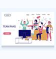 team fans website landing page design vector image vector image
