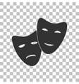 Theater icon with happy and sad masks Dark gray vector image vector image