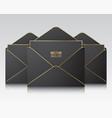 three black envelope templates vector image vector image