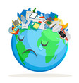 trash polluted planet earth sad suffer tired sick vector image