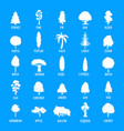tree icons set simple style vector image