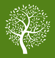 White Tree icon on green background vector image vector image