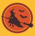 Witch on broom and bats silhouettes against moon
