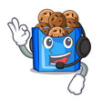with headphone fried falafel served at the mascot vector image