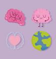 world mental health day human brain characters vector image vector image