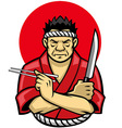 japanese chef crossing arm vector image