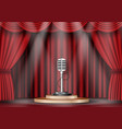 microphone on stage curtain vector image