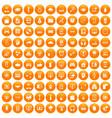100 programmer icons set orange vector image vector image