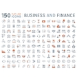 150 business and finance flat line icons vector image vector image
