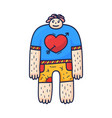 a nice character guy with a heart on a t-shirt is vector image vector image